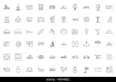 Les icônes de voyage Ligne mince Mis sur fond blanc. Vacances d'été, les vacances et les voyages. Pack simple pictogramme linéaire Mono