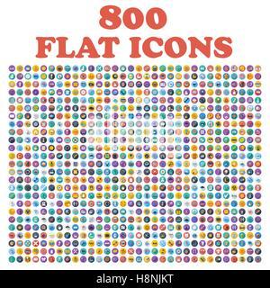 Ensemble de 800 icônes, pour le web, internet, les applications mobiles, interface design, affaires, finances, achats, Banque D'Images