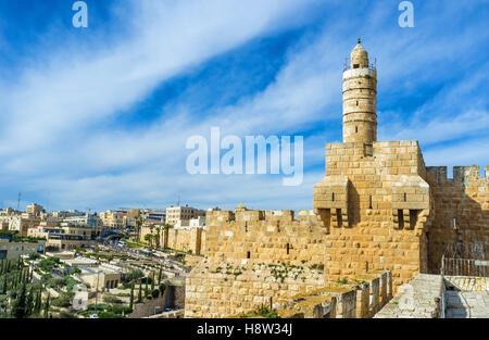 Le haut minaret de la mosquée ottomane, situé à l'intérieur de la Tour de David, Jérusalem, Israël.