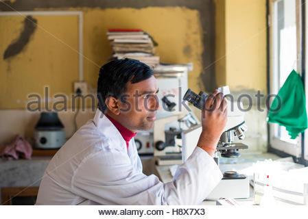 Un technicien de laboratoire travaillant dans un laboratoire tenant un petit échantillon dans la lumière d'examiner. Banque D'Images