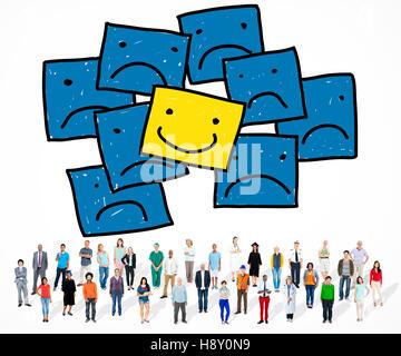 Smiley positif contraste exceptionnel bonheur Concept Banque D'Images