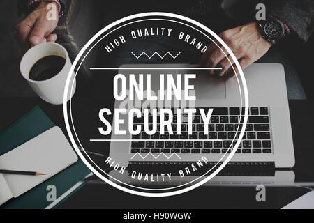 Système de sécurité en ligne Protection des renseignements personnels Technologie Concept Banque D'Images