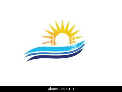 Vague logo Sun, lever et coucher de soleil logo symbole vecteur conception icône Banque D'Images