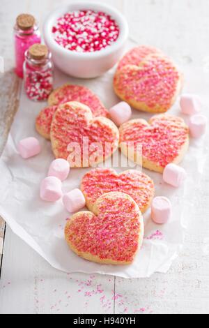 Valentines Day cookies en forme de coeur Banque D'Images