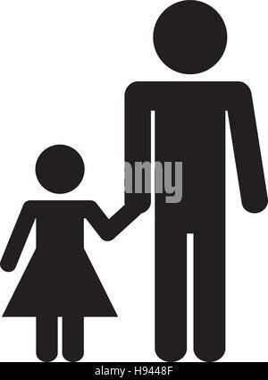 Père fille icône isolé kit