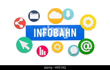 La technologie en ligne Inforoute Réseau Concept Banque D'Images