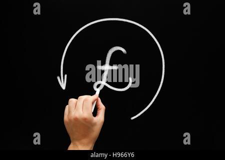 Croquis à main British Pound symbol in arrow cercle avec craie blanche sur tableau noir. Banque D'Images