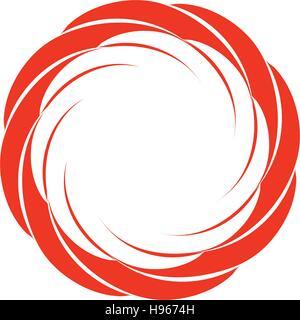 Résumé rouge isolé circulaire couleur logo sun. Logo de forme ronde. Swirl, Tornado et l'ouragan icône. Spining Banque D'Images