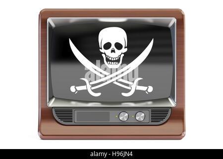 Concept de piraterie, rendu 3D. TV avec drapeau pirate isolé sur fond blanc Banque D'Images