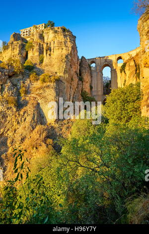 La Gorge El Tajo de Ronda, Canyon, le pont Puente Nuevo, Andalousie, Espagne Banque D'Images