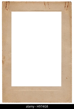 Studio photo portfolio de vintage photo frame, isolé vertical vieux rétro sépia beige carton album vitraux carte copy space