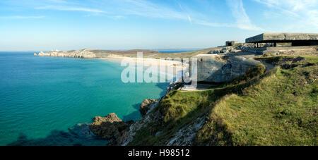 Casemates et fortifications de la pointe de Pen Hir, Bretagne Banque D'Images