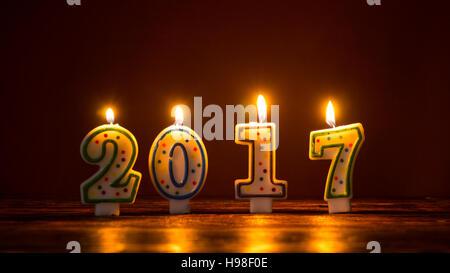 Numéro de brûler des bougies, 2017 nouveau concept de l'année Banque D'Images