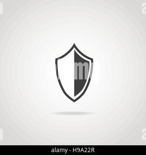 Icône noire de bouclier chevalier médiéval. Signe de protection. Banque D'Images