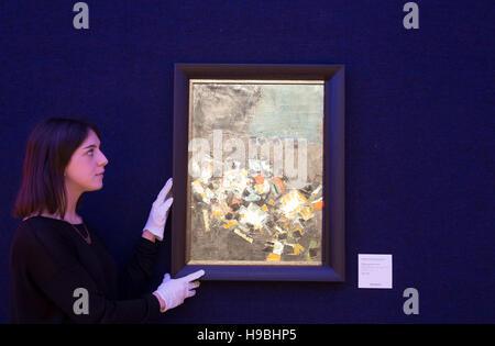 Londres, Royaume-Uni. 21 Nov, 2016. Syed Haider Raza (Indiens, 1922-2016) Paysage Nocturne (1961) et l'Irlandais moderne britannique Bonhams vente d'art en Londo Crédit: Keith Larby/Alamy Live News
