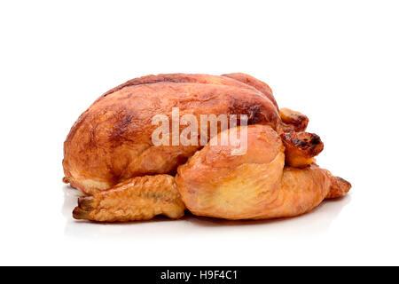 Un dindon rôti ou un poulet rôti sur un fond blanc Banque D'Images