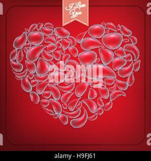 Coeur de gouttes d'eau sur fond rouge. EPS 10 Banque D'Images