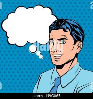 L'homme bulle et conception style pop art Banque D'Images