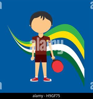 Caricature joueur de ping-pong label brésilien illustration vecteur eps 10 Banque D'Images