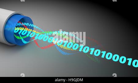 3d illustration de câble optique de données binaires à l'intérieur Banque D'Images