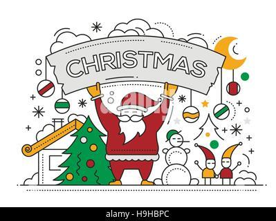 Joyeux Noël télévision ligne design card avec les vacances des symboles - Père Noël, arbre de Noël, bonhomme de neige, la bannière