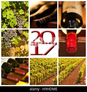 Vin rouge 2017 photos carrées collage carte de souhaits Banque D'Images