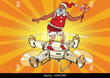Père Noël sur un vol quadcopter Banque D'Images