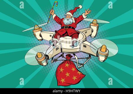Père Noël rétro vole sur le drone Banque D'Images