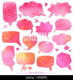 Vector set de ballons pour des inscriptions, pop art, bandes dessinées, dessins animés. Vector set avec effet aquarelle Banque D'Images