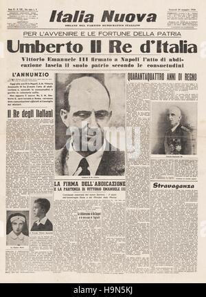 1946 Italia Nuova front page Umberto II devient roi d'Italie à la suite de l'abdication de Victor Emmanuel III Banque D'Images
