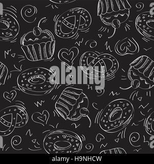 Motif de fond transparente - des gâteaux sucrés - vector illustration Banque D'Images
