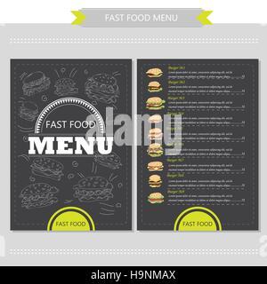 Vector hand drawn illustration avec fast-food, Restaurant menu