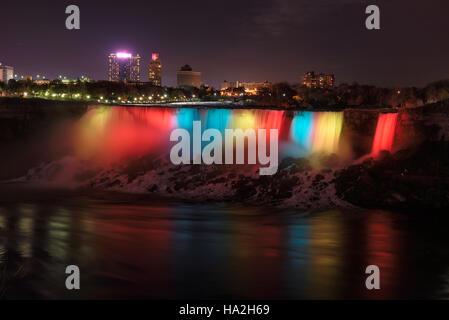 Nuit à Niagara Falls Banque D'Images