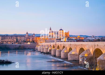 Pont romain sur la rivière Guadalquivir, vision de nuit. Cordoue, Espagne. Banque D'Images
