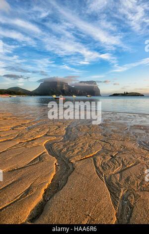 Vue sur le Mont Gower, dans la lagune, l'île Lord Howe, NSW, Australie Banque D'Images