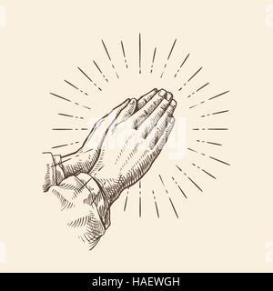Mains qui prient. Vector illustration croquis Banque D'Images