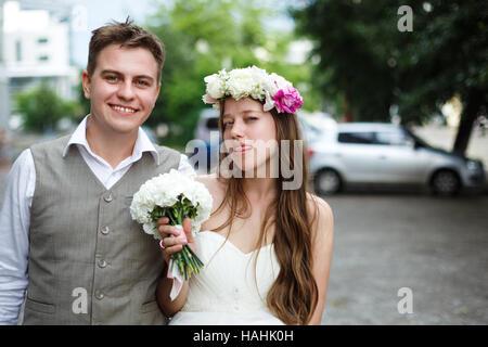 Couple heureux mariage. Happy senior couple having fun. Banque D'Images
