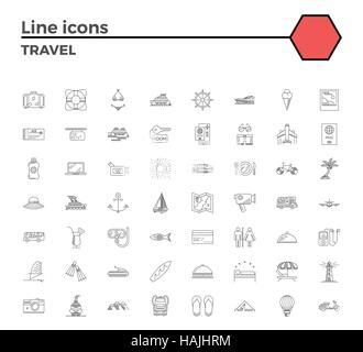 Les icônes de voyage ligne mince mis sur fond blanc.summer holidays, locations et voyage d'objets. Pictogramme linéaire mono simple pack vecteur l'AVC