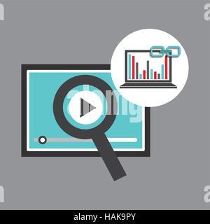 Des graphiques pour ordinateur portable lecteur vidéo web lien illustration vecteur eps 10 Banque D'Images