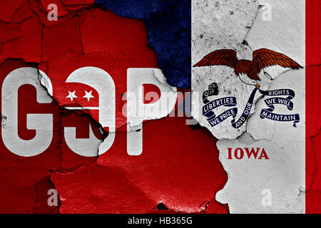 Pavillon du GOP et de l'Iowa peint sur mur fissuré