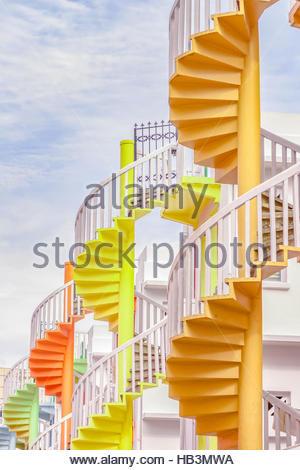 Singapour à Bugis Village escaliers en spirale. Banque D'Images