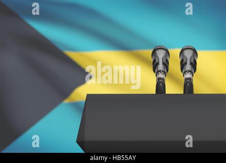 Chaire et deux microphones avec un drapeau sur le fond - Bahamas Banque D'Images