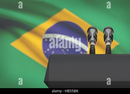 Chaire et deux microphones avec un drapeau sur le fond - Brésil Banque D'Images