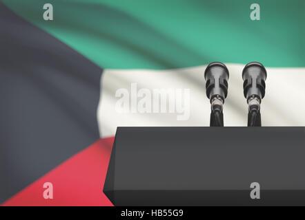 Chaire et deux microphones avec un drapeau sur le fond - Koweït Banque D'Images