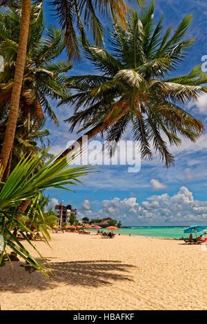 Worthing Beach à Worthing, entre St Lawrence Gap et de Bridgetown, La Barbade, la côte sud, des Caraïbes.