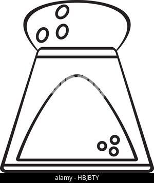 Shaker de sel de cuisine ingrédients contours vector illustration eps 10 Banque D'Images