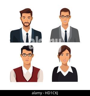 Définir les hommes d'affaires de travail de l'équipe femme Banque D'Images