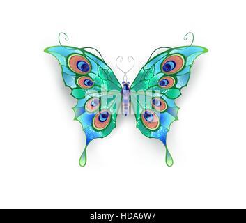 Papillon aux ailes vert, décoré de cercles bleus sur fond blanc. Banque D'Images