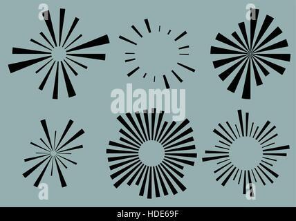 Set 6 lignes radiales, rayons, poutres elements. Différentes formes avec la solarisation, starburst lignes irrégulières Banque D'Images