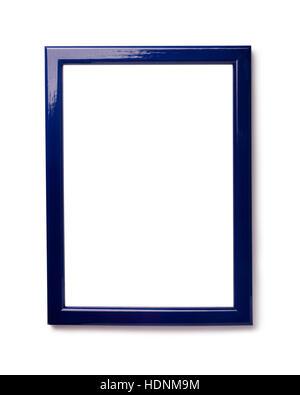Cadre photo bleu isolé sur fond blanc